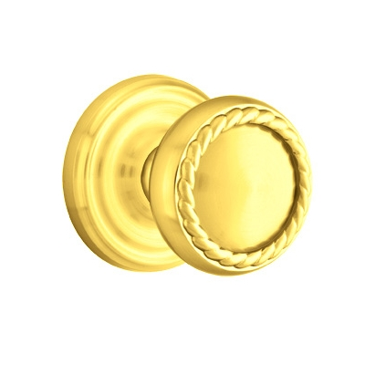 Emtek Rope Door knob with Regular Rose Polished Brass (US3)