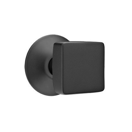 Emtek Square Door Knob Set With Modern Rose Flat Black (US19)