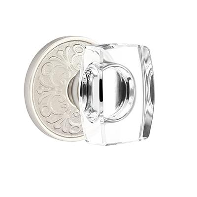 Emtek Windsor Crystal Door Knob with Lancaster Rose Satin Nickel
