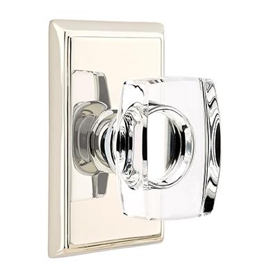 Emtek Windsor Crystal Door Knob with Modern Rectangular Rose Polished Nickel