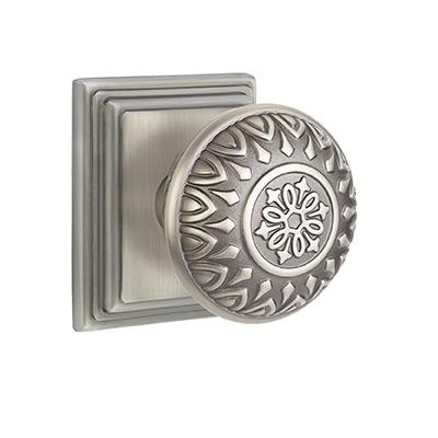 Emtek Lancaster Door knob with Wilshire Rose Antique Pewter (ATP)