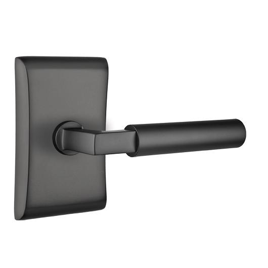 Emtek Brass Hercules Door Lever Set with Neos Rose Flat Black (US19)