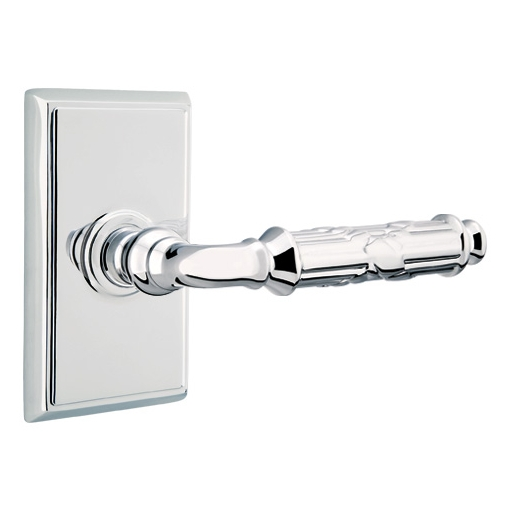 Emtek Ribbon and Reed Door Lever with Rectangular Rose Polished Chrome (US26)
