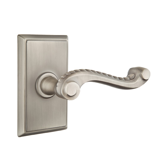 Emtek Rope Door Lever with Rectangular Rose Antique Pewter (US15A)