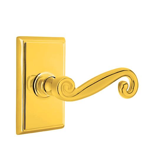 Emtek Rustic Door Lever with Rectangular Rose Lifetime Brass (PVD)