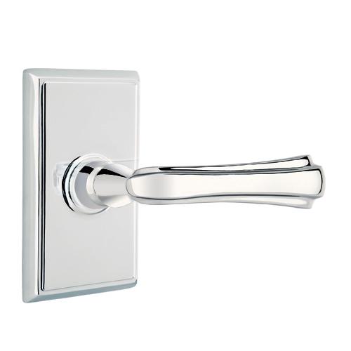 Emtek Wembley Door lever with Rectangular Rose Polished Chrome (US26)