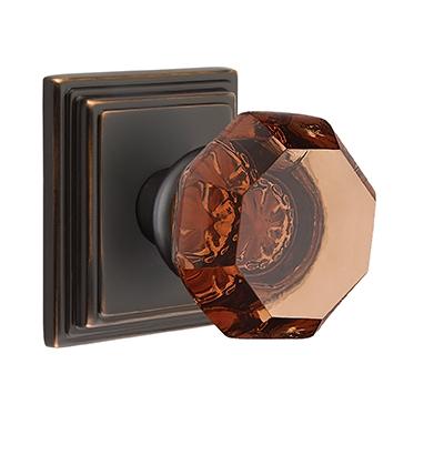 Emtek Old Town Door Knob Amber with Wilshire Rose Oil Rubbed Bronze (US10B)
