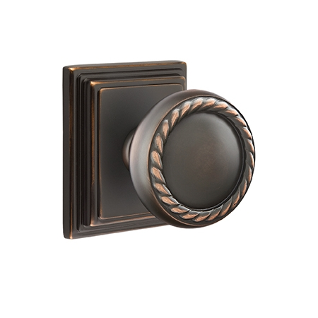 Emtek Rope Door knob with Wilshire Rose Oil Rubbed Bronze (US10B)