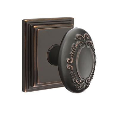 Emtek Victoria Door knob with Wilshire Rose Oil Rubbed Bronze (US10B)