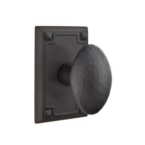 Emtek Hammered Egg Door Knob Set with Arts & Crafts Rectangular Rose Flat Black
