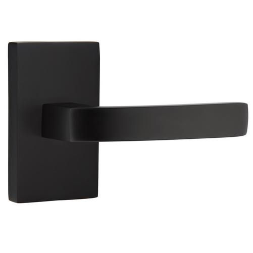 Emtek Modern Breslin Lever Set with Modern Rectangular Rose Flat Black