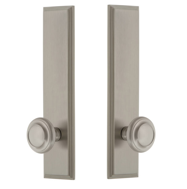Grandeur Carre Tall Plate with Choice of Knob or Lever Satin Nickel
