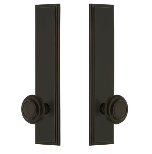 Grandeur Carre Tall Plate with Choice of Knob or Lever Timeless Bronze