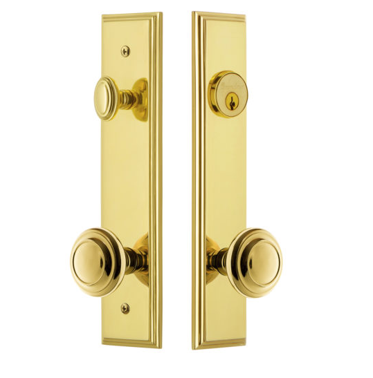 Grandeur Carre Tall Plate Entrance Set with Choice of Knob or Lever Lifetime Brass