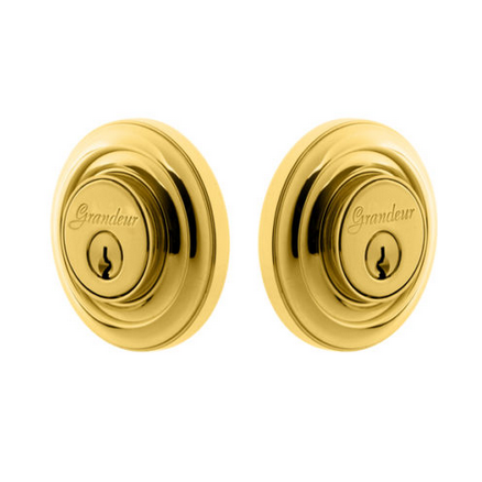 Grandeur Circulaire Double Cylinder Deadbolt Lifetime Polished Brass
