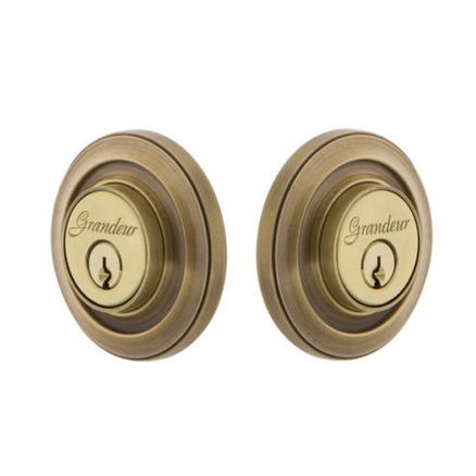 Grandeur Circulaire Double Cylinder Deadbolt Vintage Brass