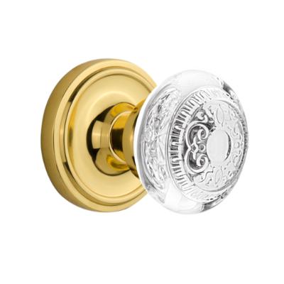 Nostalgic Warehouse Crystal Egg and Dart Knob Set with Classic Rose Polished Brass