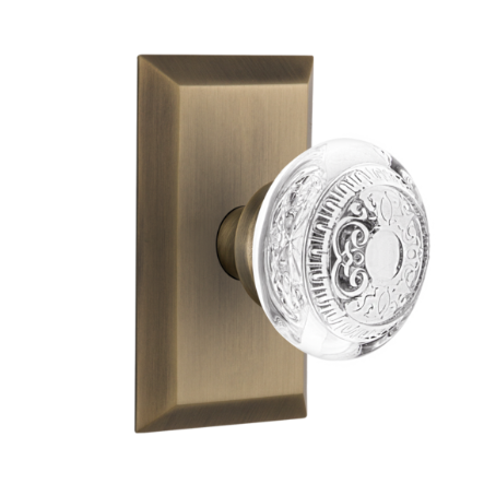Nostalgic Warehouse Studio Plate with Egg and Dart Crystal Knob Anqtique Brass