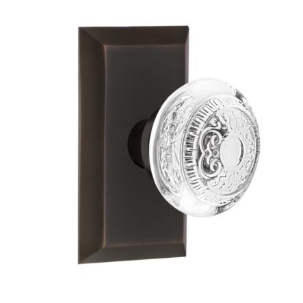 Nostalgic Warehouse Studio Plate with Egg and Dart Crystal Knob Timeless Bronze