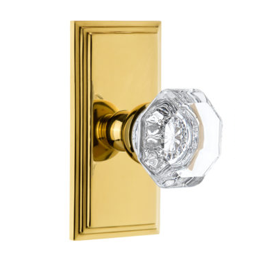 Grandeur Chambord Door Knob Set with Carre Short Plate Polished Brass