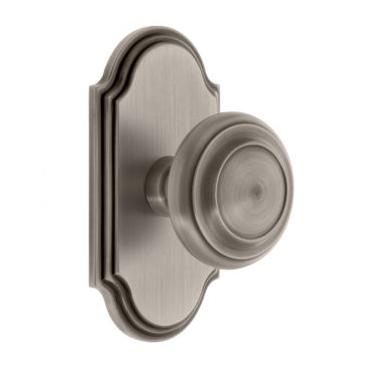 Grandeur Circulaire Door Knob Set with Arc Short Plate Antique Pewter