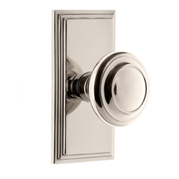 Grandeur Circulaire Door Knob Set with Carre Short Plate Polished Nickel