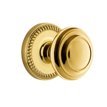 Grandeur Circulaire Door Knob with Newport Rose Polished Brass