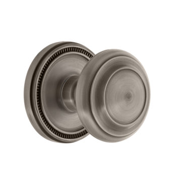 Grandeur Circulaire Door Knob with Soleil Rose Antique Pewter