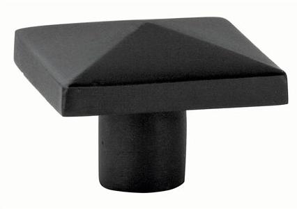 Emtek Sandcast Bronze Square Cabinet Knob 86145, 86146 Flat Black Patina
