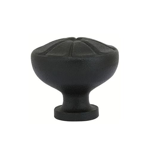 Emtek Wrought Steel Petal Cabinet Knob Flat Black (FB)