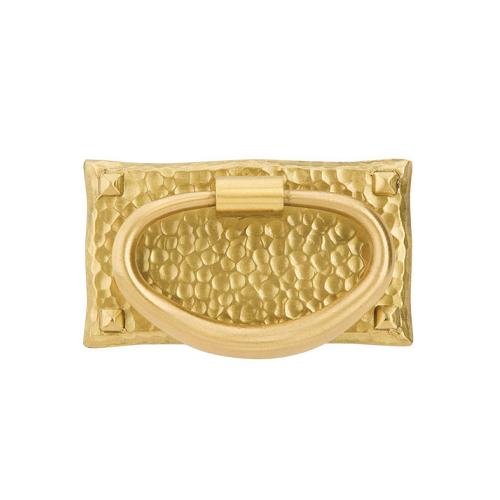 Emtek 86041 Hammered Oval Ring Pull Polished Brass (US3)