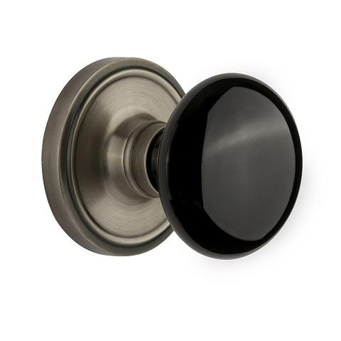 Nostalgic Warehouse Black Porcelain Knob Privacy Mortise Lock Classic Rose AP