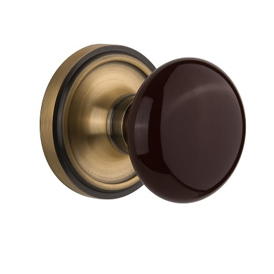 Nostalgic Warehouse Brown Porcelain Knob with Classic Rose Antique Brass