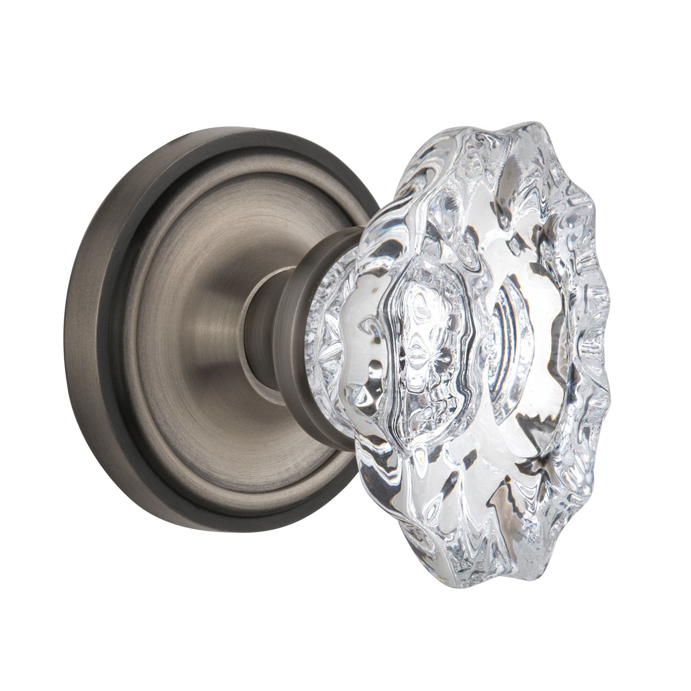 Nostalgic Warehouse Chateau Crystal Knob Privacy Mortise with Classic Rose AP