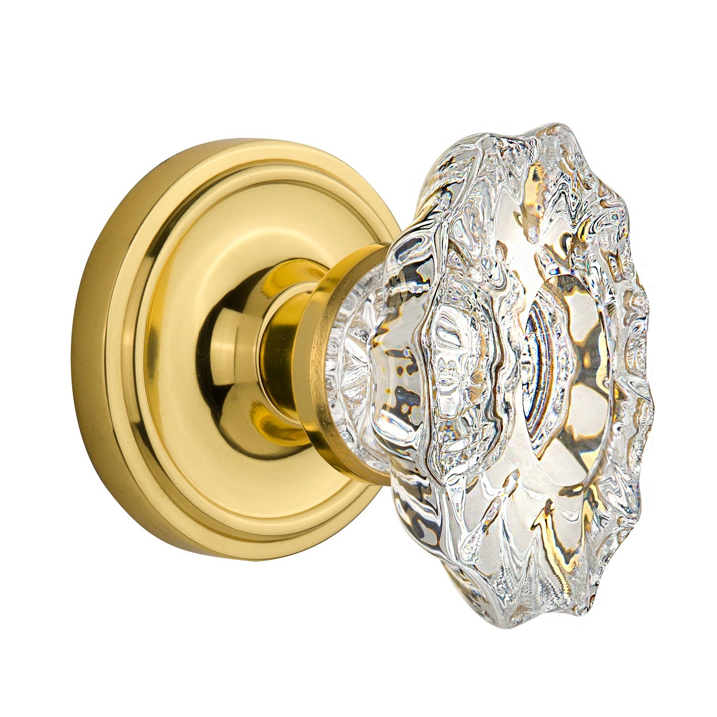 Nostalgic Warehouse Chateau Crystal Knob Privacy Mortise with Classic Rose PB