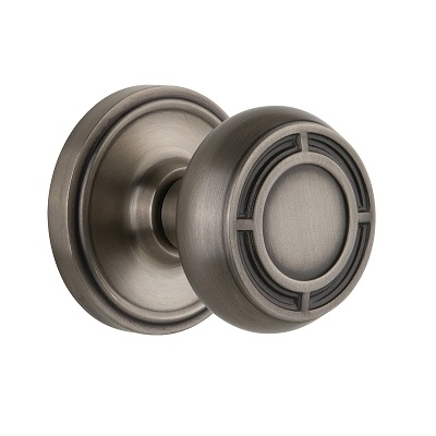 Nostalgic Warehouse CLAMIS Mission Knob Set with Classic Rose Antique Pewter