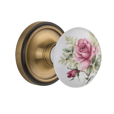 Nostalgic Warehouse Rose Porcelain Knob Privacy Mortise Classic Rose AB