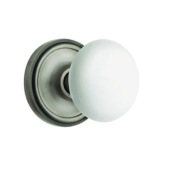 Nostalgic Warehouse Porcelain Knob Privacy Mortise with Classic Rose AP