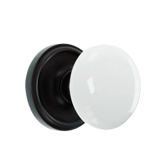 Nostalgic Warehouse Porcelain Knob with Classic Rose Oil Rubbed Bronze