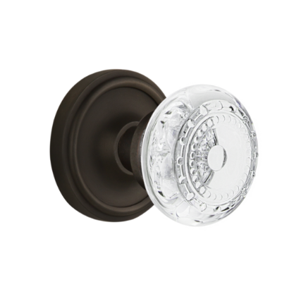 Nostalgic Warehouse Crystal Meadows Knob Set with Classic Rose Oil Rubbed Bronze