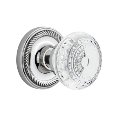 Nostalgic Warehouse Crystal Meadows Knob Set with Rope Rose Bright Chrome