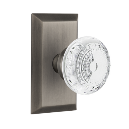 Nostalgic Warehouse Studio Plate with Meadows Crystal Knob Antique Pewter
