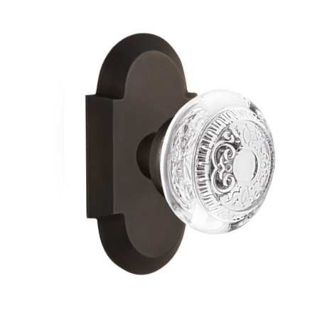 Nostalgic Warehouse Cottage Plate with Egg and Dart Crystal Knob Oil rubbed Bronze