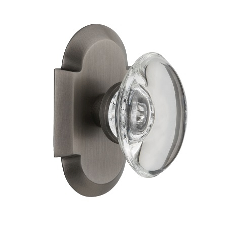 Nostalgic Warehouse Cottage Plate with Oval Crystal Knob Antique Pewter