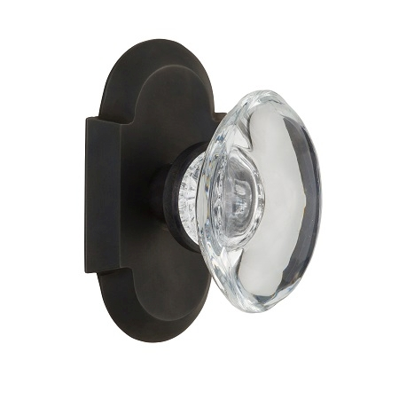Nostalgic Warehouse Cottage Plate with Oval Crystal Knob Oil Rubbed Bronze