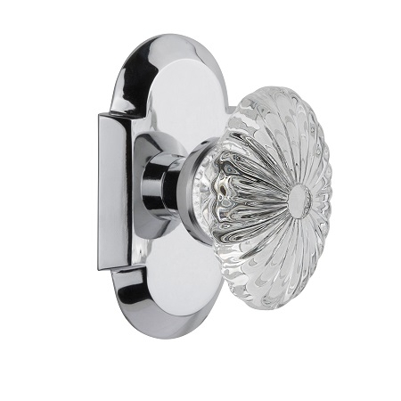 Nostalgic Warehouse Cottage Plate with Oval Fluted Crystal Knob Bright Chrome