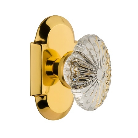 Nostalgic Warehouse Cottage Plate with Oval Fluted Crystal Knob Polished Brass