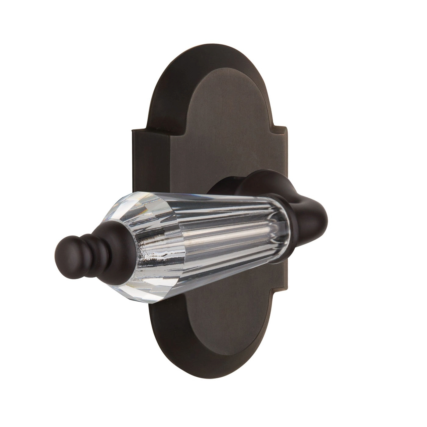 Nostalgic Warehouse Cottage Plate with Parlour Crystal Lever Oil Rubbed Bronze