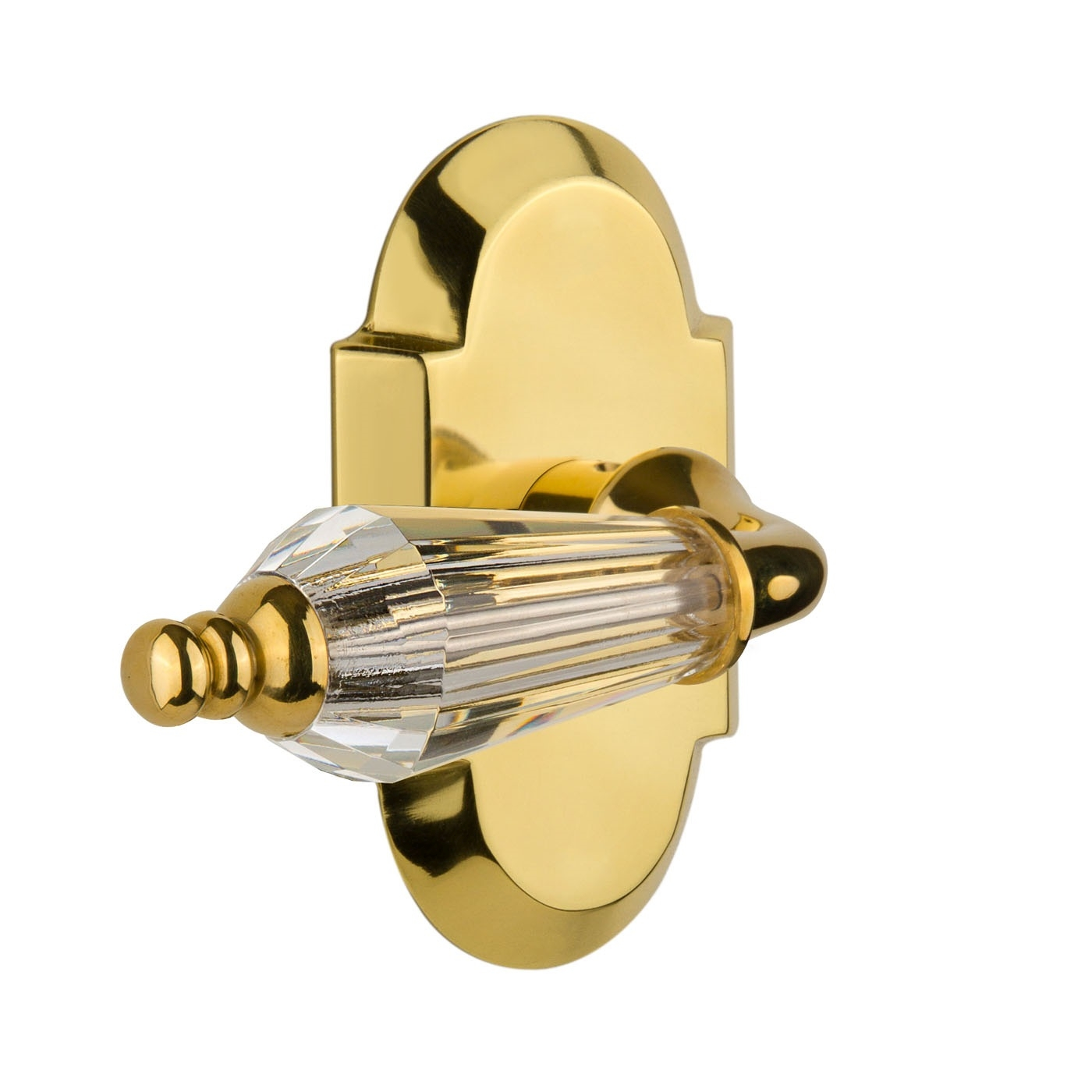 Nostalgic Warehouse Cottage Plate with Parlour Crystal Lever Polished Brass