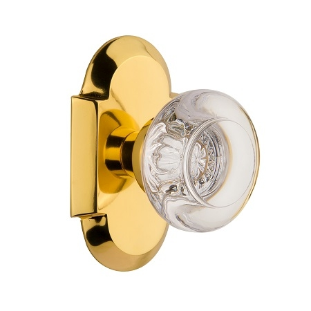 Nostalgic Warehouse Cottage Plate with Round Clear Crystal Knob Polished Brass